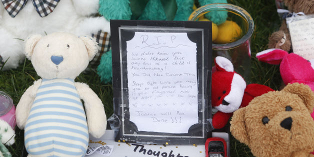 Tributes are left at Ferry Gait Crescent in Edinburgh, Scotland, near the home of three year old Mikaeel Kular: Danny Lawson/PA Wire