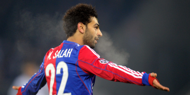 Basel's Egyptian midfielder Mohamed Salah celebrates scoring a goal during the UEFA Champions League group E football match between Basel and Chelsea at St Jakob Park in Basel on November 26, 2013. AFP PHOTO / SEBASTIEN BOZON        (Photo credit should read SEBASTIEN BOZON/AFP/Getty Images)
