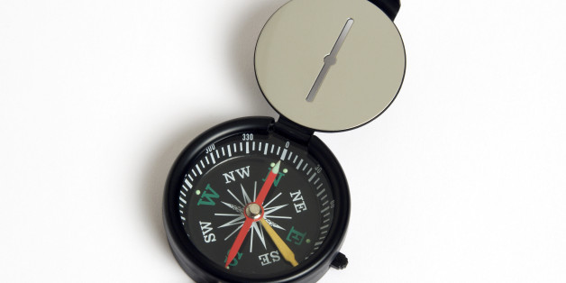 Travel, Navigation, Map Reading, Sighting compass with dial pointing to magnetic north on a white background.