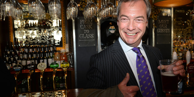 UK Independent Party (UKIP) leader Nigel Farage enjoys a pint of beer in a pub in central London on May 3, 2013. The anti-immigration UK Independence Party (UKIP) was celebrating some of its best ever results following local elections which delivered a bloody nose to Britain's ruling coalition. AFP PHOTO/BEN STANSALL        (Photo credit should read BEN STANSALL/AFP/Getty Images)