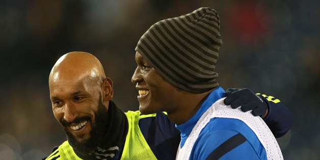 Everton's Romelu Lukaku (right) and West Bromwich Albion's Nicolas Anelka during warm-up