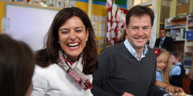 Liberal Democrat leader Nick Clegg and his wife Miriam Gonzales Durantez take a break from his party annual conference Glasgow to visit Lairdsland Primary School in Kirkintilloch.