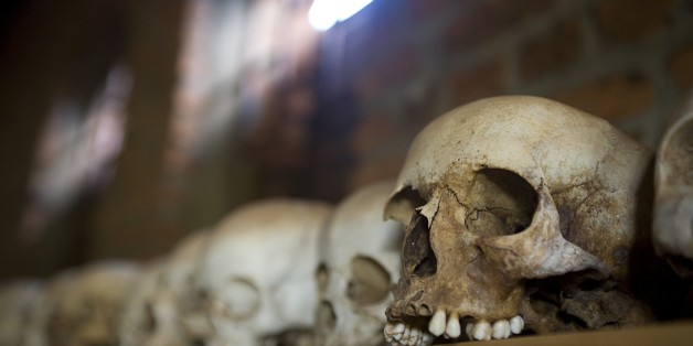 Skulls From Ntarama Genocide Lined Up On Shelf In Church
