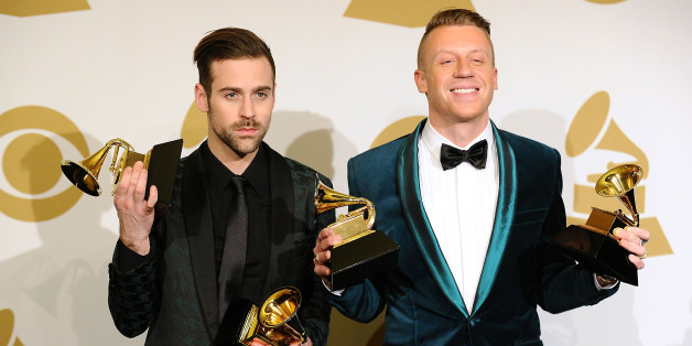Macklemore & Ryan Lewis pose in the press room at the 56th GRAMMY Awards at Staples Center on January 26, 2014 in Los Angeles, California.  (Photo by Jason LaVeris/FilmMagic)