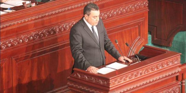 Mehdi Jomaa avant le vote de confiance à l'Assemblée nationale constituante, le 28 janvier 2014