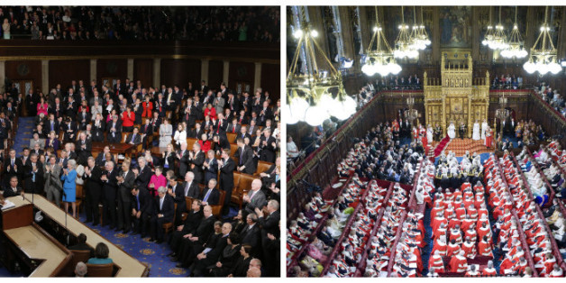 Barack Obama addressing Congress (left) and the Queen addressing Parliament (right)