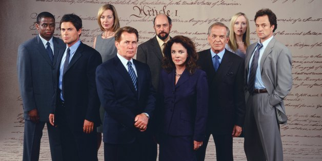 THE WEST WING -- SEASON 3 -- Pictured: (l-r) Dule Hill as Charlie Young; Rob Lowe as Sam Seaborn; Allison Janney as Claudia Jean 'C.J.' Cregg, Martin Sheen as President Josiah 'Jed' Bartlet, Richard Schiff as Toby Ziegler, Stockard Channing as Abbey Bartlet, John Spencer as Leo McGarry, Janel Moloney as Donna Moss, Bradley Whitford as Josh Lyman -- Photo by: David Rose/NBCU Photo Bank