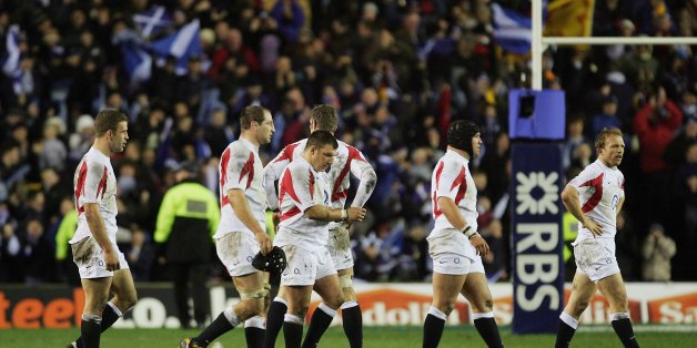 England players trudge off after their 2006 Calcutta Cup defeat to Scotland