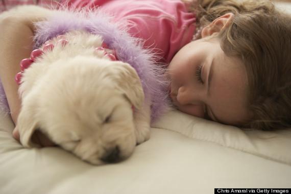 child cuddling pet