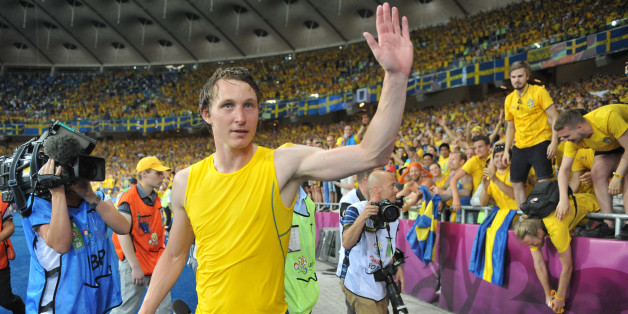 Swedish midfielder Kim Källström celebrates after winning the Euro 2012 football championships match Sweden vs France on June 19, 2012 at the Olympic Stadium in Kiev. AFP PHOTO / GENYA SAVILOV        (Photo credit should read GENYA SAVILOV/AFP/GettyImages)