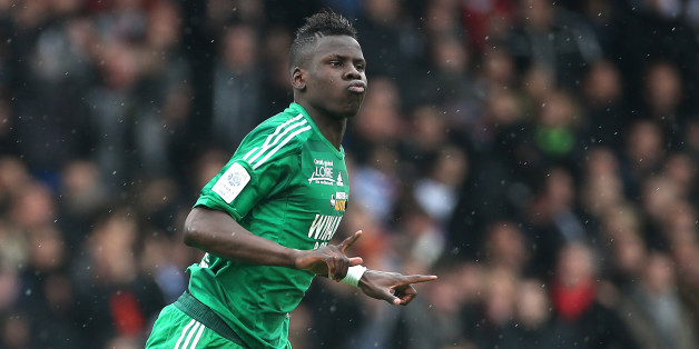 LYON, FRANCE - APRIL 28: Kurt Zouma of Saint-Etienne celebrates his goal during the Ligue 1 match between Olympique Lyonnais, OL, and AS Saint-Etienne, ASSE, at the Stade Gerland on April 28, 2013 in Lyon, France. (Photo by John Berry/Getty Images)