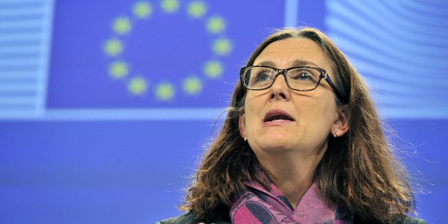EU commissioner for Home Affairs Cecilia Malmstroem gives a press conference on Lampedusa situation and the task force for the Mediterranean on December 4,2013 at the EU Headquarters in Brussels. AFP PHOTO GEORGES GOBET        (Photo credit should read GEORGES GOBET/AFP/Getty Images)