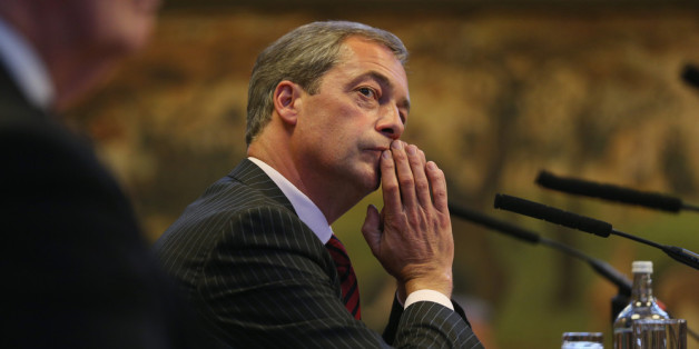 MANCHESTER, ENGLAND - SEPTEMBER 30:  Nigel Farage, the leader of the UK Independence Party, prepares to speak at a fringe event to the second day of the Conservative Party Conference in Manchester Town Hall on September 30, 2013 in Manchester, England. Chancellor of the Exchequer George Osborne has unveiled a Government plan for long-term unemployed people to undertake work placements in order to receive their benefits.  (Photo by Oli Scarff/Getty Images)