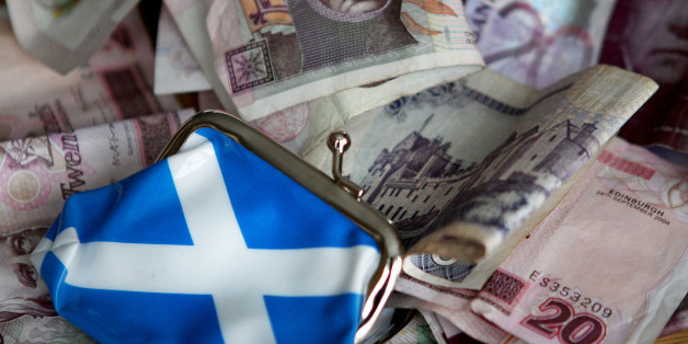 A general view of Scottish money in Edinburgh, as a survey revealed that Scots would vote for independence if they were sure to be just 500 better off a year.