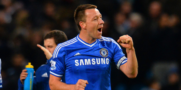 MANCHESTER, ENGLAND - FEBRUARY 03:  John Terry of Chelsea celebrates victory during the Barclays Premier League match between Manchester City and Chelsea at Etihad Stadium on February 3, 2014 in Manchester, England.  (Photo by Shaun Botterill/Getty Images)