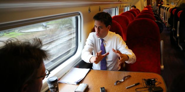 Labour Leader Ed Miliband during an interview as he travels by train to Stockport, Cheshire as he joins the campaign trail for the Wythenshawe and Sale East by-election that's taking place on February 13.