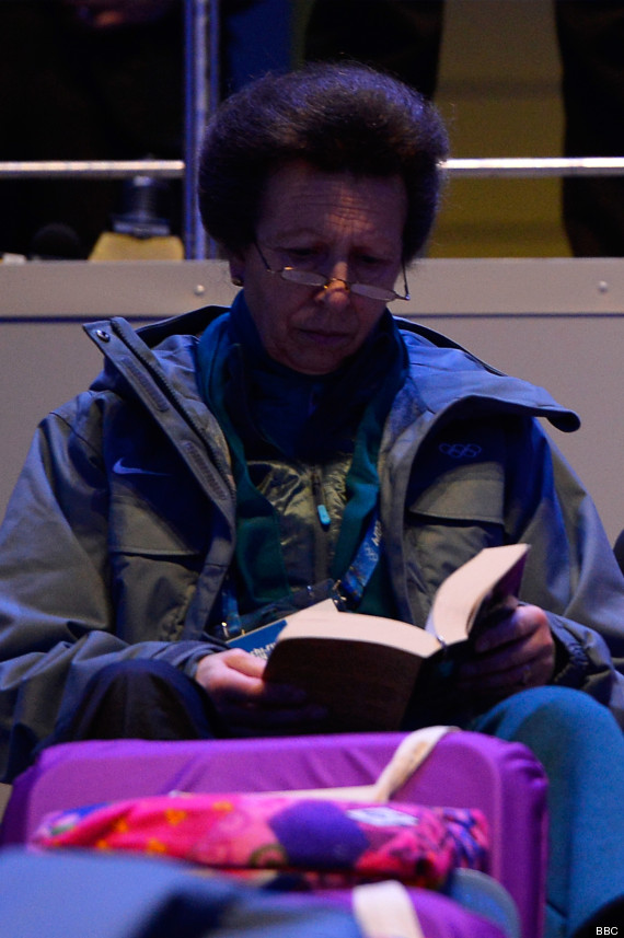 Sochi 2014: Princess Anne Reads A Book During Olympic Opening Ceremony