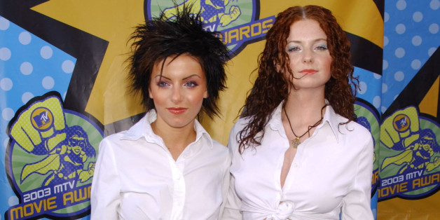 Julia Volkova and Lena Katina of t.A.T.u. arrive at the 2003 MTV Movie Awards in Los Angeles. (Photo by Bill Davila/FilmMagic)