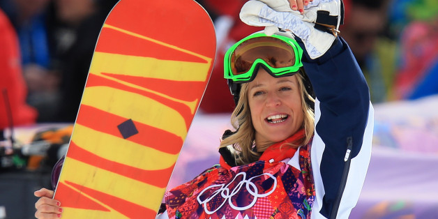 Great Britain's Jenny Jones celebrates after fining out she won Bronze in the Women's Snowboard Slopestyle Final during the 2014 Sochi Olympic Games in Krasnaya Polyana, Russia.