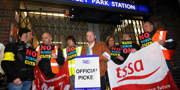 General Secretary of the TSSA union, Gerry Docherty (centre) outside Wembley Park Station, as commuters faced a struggle to get to work today as the latest Tube strike hit the capital.