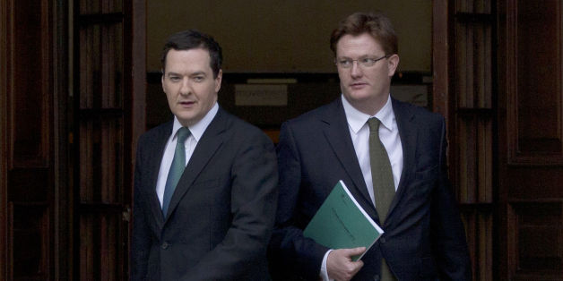 Chancellor of the Exchequer George Osborne and Chief Secretary to the Treasury Danny Alexander leave the Treasury in central London for the House of Commons where Osborne will deliver his autumn financial statement.