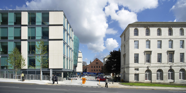 United Kingdom, Architect Leeds, The Rose Bowl, Leeds Metropolitan University, Panoramic Shot Showing The Modern Glass Building Next To The Traditional Civic Buildings . (Photo by View Pictures/UIG via Getty Images)