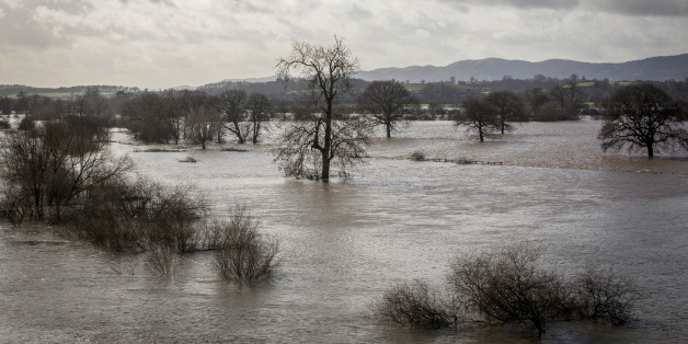 WORCESTER, ENGLAND - FEBRUARY 11: Flooded fields west of the River Severn are seen from the Carrington slightly south of the confluence with the River Teme  on February 11, 2014 in Worcester, England. The Environment Agency has issued flood warnings for dozens of areas along the River Severn as forecasters predict more rain to come. (Photo by Rob Stothard/Getty Images)
