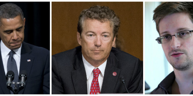 Rand Paul (centre) is bring the law suit against Barack Obama (left) following the Edward Snowden (right) leaks