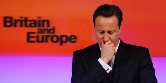 Prime Minister David Cameron makes a speech on Europe, in central London, where he promised an in/out referendum on the UK's membership of the European Union by the end of 2017, if the Conservatives win the next general election.