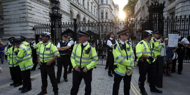 Police stand guard outside Downing Street