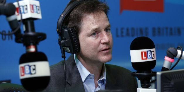 The Deputy Prime Minister Nick Clegg takes part in the first national 'Call Clegg' phone-in on LBC since the London radio station started broadcasting across the UK on digital radio.