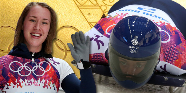 Great Britain's Lizzy Yarnold waves after her third run in the Womens Skeleton at the Sanki Sliding Centre during the 2014 Sochi Olympic Games in Krasnaya Polyana, Russia.