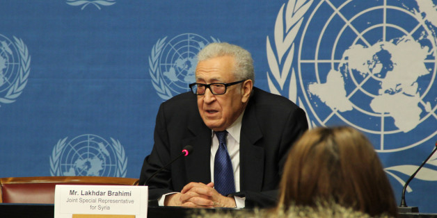 GENEVA, SWITZERLAND - FEBRUARY 15:  The UN-Arab League Special Envoy for Syria Lakhdar Brahimi speaks during a press conference following the meeting with Syrian regime at Geneva office of United Nations on February 15, 2014. (Photo by Fatih Erel/Anadolu Agency/Getty Images)