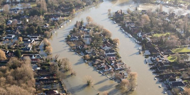 Flooded housing in south England