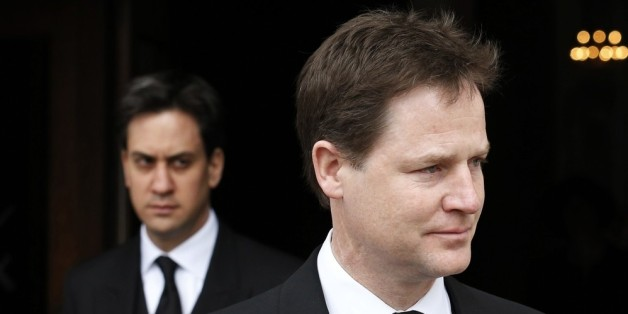 LONDON, UNITED KINGDOM - APRIL 17: Britain's deputy prime minister, Nick Clegg (R), and leader of the opposition Labour party, Ed Miliband, leave after attending the funeral service of former British prime minister Margaret Thatcher at St Paul's Cathedral on April 17, 2013 in London, England. Dignitaries from around the world today join Queen Elizabeth II and Prince Philip, Duke of Edinburgh as the United Kingdom pays tribute to former Prime Minister Baroness Thatcher during a Ceremonial funeral