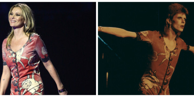 Kate Moss on stage during the 2014 Brit Awards and Ziggy Stardust in 1972