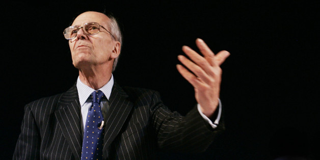 Lord Norman Tebbit, the former chairman of the Conservative Party, speaks in the The Telegraph debate at the Royal bath hotel in Bournemouth, on the second day of the Tory conference in Bournemouth.
