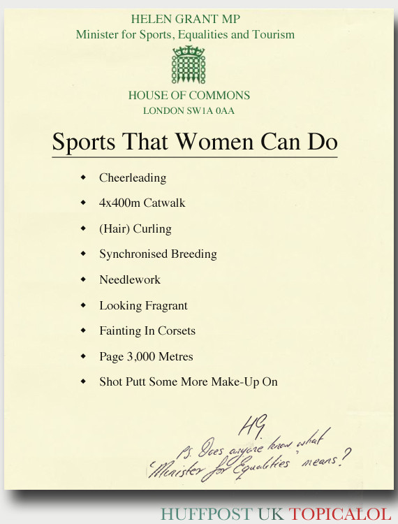 women sports helen grant spoof