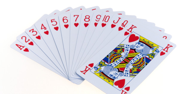 games, toys, playing cards, playing cardscards in the suit of hearts fanned out in numerical order against a white background.