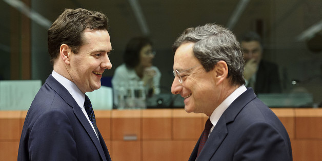 George Osborne, U.K. chancellor of the exchequer, left, speaks with Mario Draghi, president of the European Central Bank (ECB), during an EU finance ministers meeting on the European Stability Mechanism (ESM) at the European Council headquarters in Brussels, Belgium, on Monday, Jan. 23, 2012. European Union finance ministers met in Brussels to discuss new budget rules, a financial firewall to protect indebted states and a Greek debt swap, with EU leaders racing to cobble together a firm rescue r