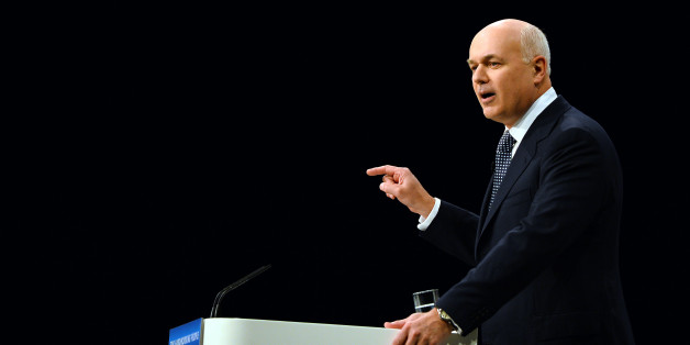 Iain Duncan-Smith, Secretary of State for Work and Pensions, speaks during the annual Conservative Party Conference in Manchester, north-west England on October 1, 2013. AFP PHOTO/Paul Ellis        (Photo credit should read PAUL ELLIS/AFP/Getty Images)
