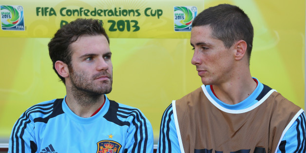 FORTALEZA, BRAZIL - JUNE 23:  Juan Mata and Fernando Torres of Spain look on prior to the FIFA Confederations Cup Brazil 2013 Group B match between Nigeria and Spain at Castelao on June 23, 2013 in Fortaleza, Brazil.  (Photo by Clive Rose/Getty Images)