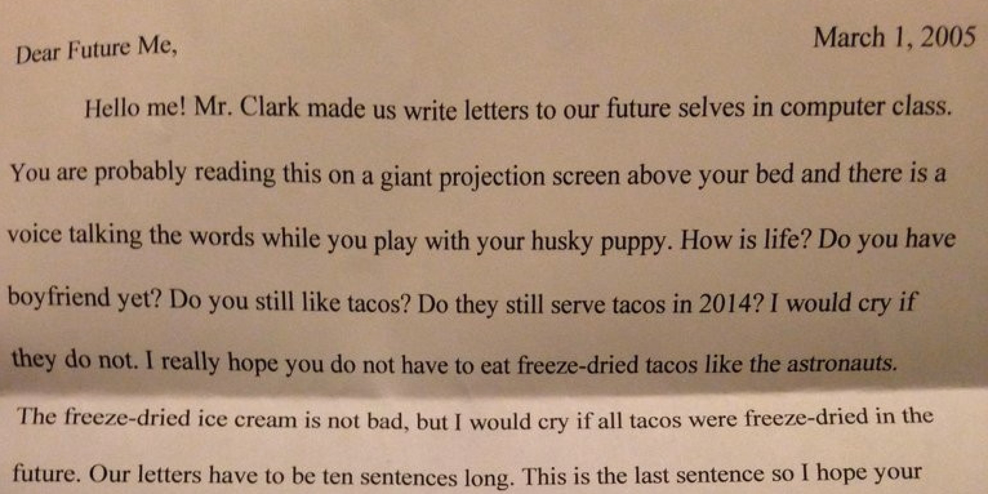 Fifth Grader s Letter To Her Future Self Proves The Eternal