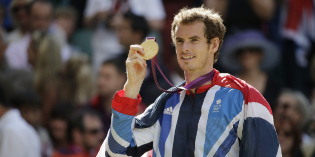 2012 SUMMER OLYMPICS -- Tennis Finals -- Pictured: Andy Murray -- (Photo by: Paul Drinkwater/NBC/NBCU Photo Bank via Getty Images)
