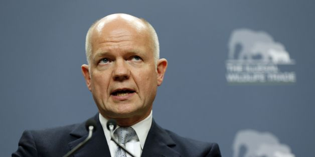 Foreign Secretary William Hague addresses the press at the Foreign and Commonwealth Office, London, following the Illegal Wildlife Trade Conference.