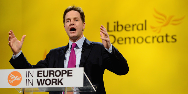 YORK, ENGLAND - MARCH 09:  Nick Clegg deputy prime minister and leader of the Liberal Democrats gives his key note address to the party spring conference on March 9, 2014 in York, England. Nick Clegg and his Liberal Democrats have gathered for their spring conference in York under the imaginary banner claiming we're not the Tories or Labour and we're definitely not Ukip.  (Photo by Jeff J Mitchell/Getty Images)