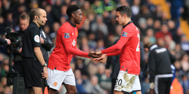 Manchester United's Robin van Persie is  substituted for  Danny Welbeck