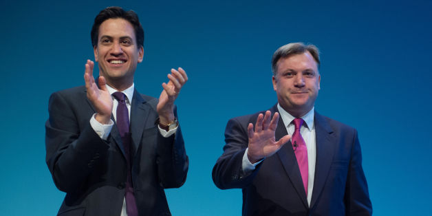 Labour Leader Ed Miliband (left) applauds shadow chancellor Ed Balls after he addressed delegates on the second day of the Labour Party Annual Conference in Brighton.