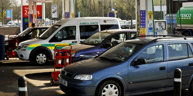 A Medical Services ambulance fills up after queuing at a Tesco petrol station in Eastville, Bristol, after sales of petrol and diesel increased dramatically yesterday as motorists flocked to garages to fill up following controversial advice from the Government ahead of a possible strike by fuel tanker drivers.