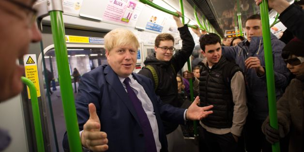 London Mayor Boris Johnson takes the tube on the District Line to Southfields where he met the founders of the footwear company Gandys Flip Flop, it is the second day of a 48 hour shut down of some of the underground network in London due to industrial action over the closing of ticket offices.
